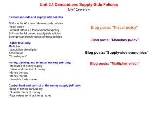 3.4 Demand-side and supply-side policies Sh ifts in the AD curve / demand-side policies ·fiscal policy ·interest rates