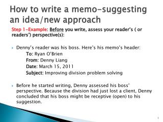 How to write a memo-suggesting an idea/new approach