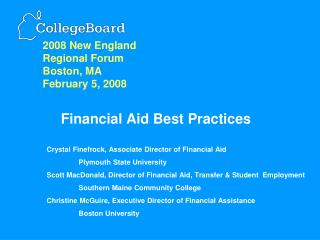 Financial Aid Best Practices