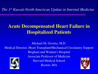 Acute Decompensated Heart Failure in Hospitalized Patients