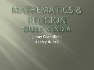 Mathematics & Religion Greek & India