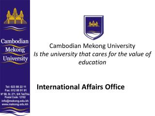 Cambodian Mekong University Is the university that cares for the value of education