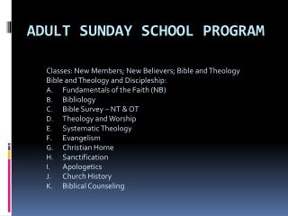 Adult Sunday School Program