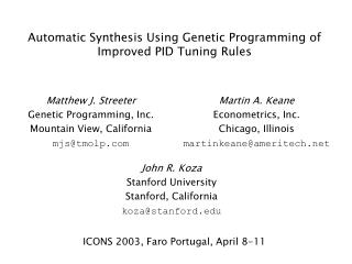 Automatic Synthesis Using Genetic Programming of Improved PID Tuning Rules