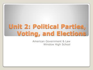 Unit 2: Political Parties, Voting, and Elections