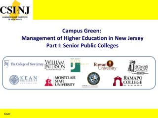 Campus Green:  Management of Higher Education in New Jersey Part I: Senior Public Colleges