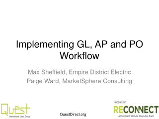 Implementing GL, AP and PO Workflow