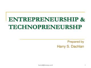 ENTREPRENEURSHIP &  TECHNOPRENEURSHP