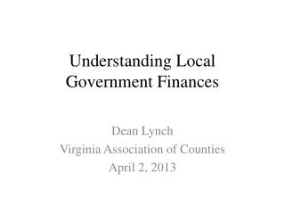 Understanding Local Government Finances