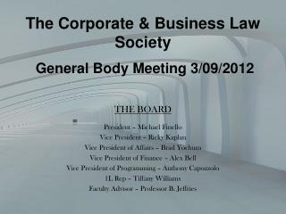 General Body Meeting 3/09/2012