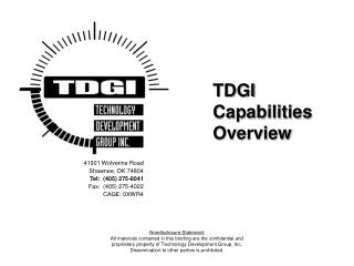 TDGI Capabilities Overview
