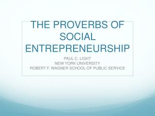 THE PROVERBS OF SOCIAL ENTREPRENEURSHIP