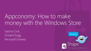 Appconomy : How  to make money with  the Windows Store
