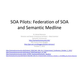 SOA Pilots: Federation of SOA and Semantic Medline