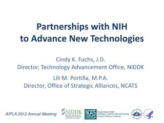 Partnerships with NIH  to Advance New Technologies