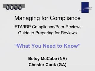 Managing for Compliance