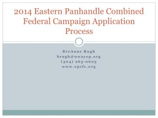 2014 Eastern Panhandle Combined Federal Campaign Application Process