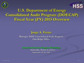 U.S. Department of Energy Consolidated Audit Program (DOECAP)  Fiscal Year (FY) 2013 Overview
