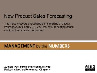 Author:  Paul Farris and  Kusum Ailawadi Marketing Metrics Reference:  Chapter 4