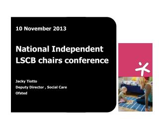 10 November 2013 National Independent LSCB chairs conference Jacky Tiotto Deputy Director , Social Care  Ofsted
