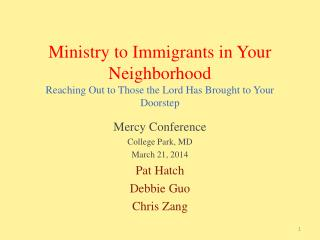 Ministry to Immigrants in Your Neighborhood Reaching Out to Those the Lord Has Brought to Your Doorstep
