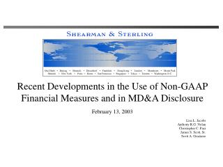 Recent Developments in the Use of Non-GAAP  Financial Measures and in MD&A Disclosure