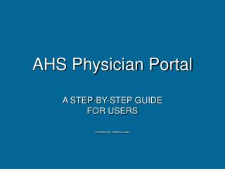 AHS Physician Portal