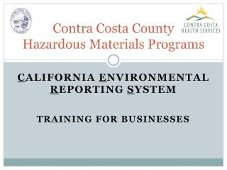 Contra Costa County Hazardous Materials Programs