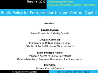 Public Policy for Entrepreneurship and Venture Capital