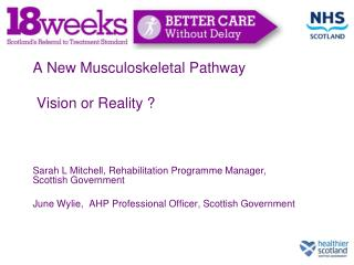 a new musculoskeletal pathway   vision or reality     sarah l mitchell, rehabilitation programme manager, scottish gover