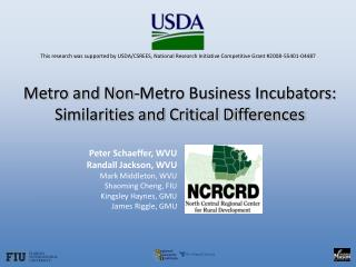Metro and Non-Metro Business Incubators: Similarities and Critical Differences