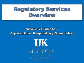 Regulatory Services Overview