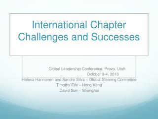 International Chapter Challenges and Successes