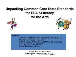 Unpacking Common Core State Standards for ELA &Literacy  for the Arts