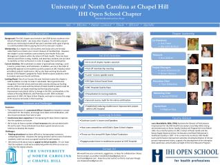 University of North Carolina at Chapel Hill IHI Open School Chapter Meredith Kimball and Lisa Fraser