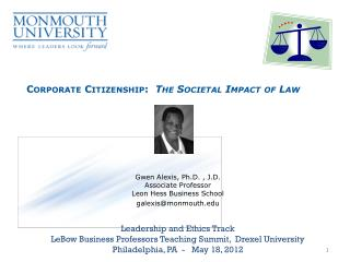 Corporate Citizenship:   The Societal Impact of Law