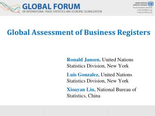 Global Assessment of Business Registers