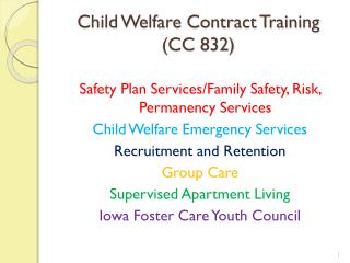 Child Welfare Contract Training (CC 832)