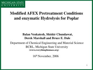 Modified AFEX Pret reatment Conditions and enzymatic Hydrolysis for Poplar