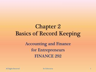 Chapter 2 Basics  of Record Keeping