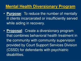 mental health diversionary program