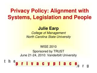 Privacy Policy: Alignment with Systems, Legislation and People