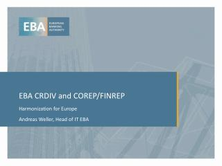 EBA CRDIV and COREP/FINREP