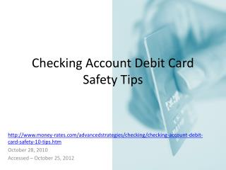 Checking Account Debit Card Safety Tips