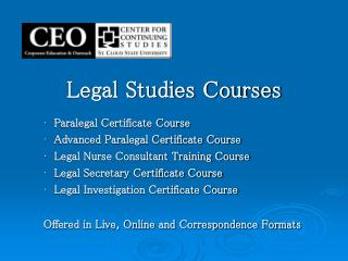 Legal Studies Courses
