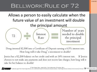 Bellwork: Rule of 72