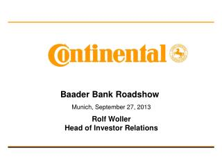 Baader Bank Roadshow