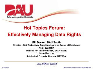 Hot Topics Forum: Effectively Managing Data Rights