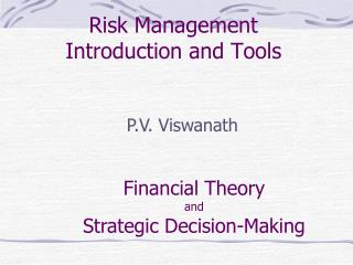Risk Management  Introduction and Tools