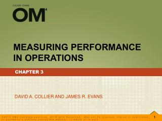 MEASURING PERFORMANCE IN OPERATIONS